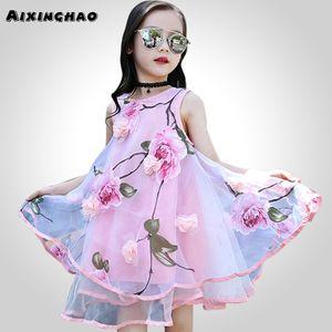 Aixinghao 여자 드레스 여름 드레스 여자 십대 꽃 해변 Sundress 드레스 여자 꽃 8 10 12 년 아이 십대 옷 MX190912
