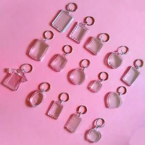 Stili 50pcs / Lot rettangolo Cuore rotonda trasparente acrilico Blank Inserire Photo Picture Frame portachiavi portachiavi Diy regalo Anello Spalato