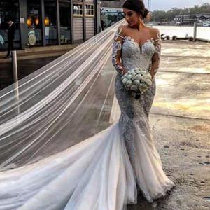 세련된 BOHO 세련된 인어 웨딩 드레스 깎아 지른 보석 목 긴 소매 Tulle Bridal Dress 매력적인 레이스 Appiques 비치 웨딩 가운