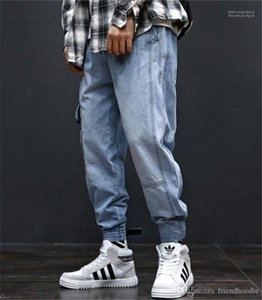 Pockets Hiphop Loose Light Blue Mens Jeans Fashion Long Mens Cargo Pants With