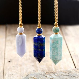 Natural gems stone Essential Oil Diffuser Perfume Bottle Pendant necklace stainless steel jewelry Dropshipping T200601
