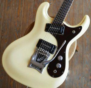 Johnny Ramone Vibramute Mosrite Venture 1966 Guitarra Creme Branco elétrica Bigs Tremolo Bridge, Pickups P90 Preto, Pequeno Dot embutimento