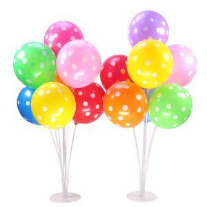 7 Tubes Ballons Halter Säule Stehen 70cm transparenter Plastikballon Stock-Geburtstags-Party-Dekoration Valentinstag Hochzeit Ballons Dekor