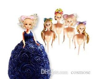 دمية كعكة قالب من البلاستيك الديكور بوبي دمية القبعات العالية اللباس كعكة عيد ميلاد الدمية تزيين الكيك أدوات الزفاف