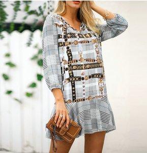 2019 Estilo de moda mujeres vintage cadena de impresión patchwork streetwear mini vestido Oficial mujer pliegues dulces vestidos elegantes vestidos sueltos ocasionales