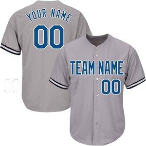Maglie da baseball personalizzate Jersey cucito direttamente in fabbrica Grigio Più stile Tecnologia di ricamo Qualsiasi nome Qualsiasi numero Spedizione gratuita Qualità superiore