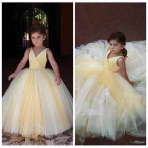 V-образный вырез без рукавов бального платья желтого цветка девочка платья Тюль 2020 Sexy Kids Формальной партия Wear плиссе Длины пол Пром Gowns