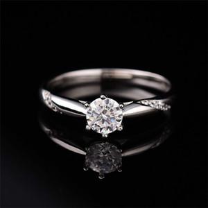 S925 Sterling Sliver Moissanite anel D-COLOR Super Flash clássico Prong configuração Toque Anéis 0.5ct-1ct por Mulheres Fine Jewelry