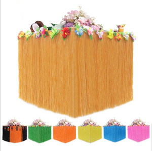 Table Cloth Hawaiian Luau Table Skirt Colored Inlaid Artificial Grass Table Skirts Wedding Party Meeting Decor Hotel Tables Cloth DHF539