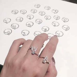 الأزياء الأولية حلقات مكعب الزركون حجر الراين رسالة مفتوحة إصبع خاتم الماس 925 والفضة والمجوهرات أنثى الاشتباك عرس حزب