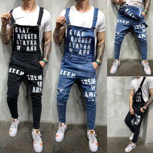 Pantalons Jeans Denim bavoir Suspenders Salopette Skinny Ripped Pantalons Destroyed hommes