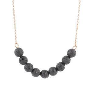 Hübsche Lava Diffusor Halskette für Frauen minimalistisch wunderschön Schmuck schwarz Lava Stein Perlen Halsketten vergoldet Kette Choker Halskette