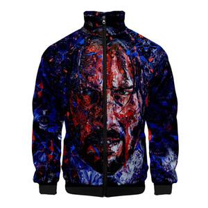 3D цифровой печати Мужские куртки John Wick 3 Стенд воротник с длинным рукавом весна Мужские пиджаки Модельер Мужские пальто