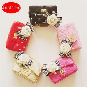 Nur Tao! Kinder Klassische Handtasche Kleine PU-Ledergeldbeutel der Mädchen Art und Weise Blumen-Perlen-Taschen Little Baby Kind Taschen New Year Geschenk für Mädchen JT001