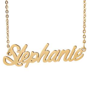 """Персонализированные пользовательские 18K позолоченные нержавеющей стали имя сценария ожерелье """"Стефани"""" Шарм табличка ожерелье ювелирные изделия подарок NL-2430"""