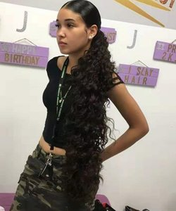 Easy Ponytail Hairstyles Clip Ins длинные волосы на шнурке с хвостиком Черные волосы вьющиеся волосы на завязке с хвостиком наращивание волос Virgin Curly 160г