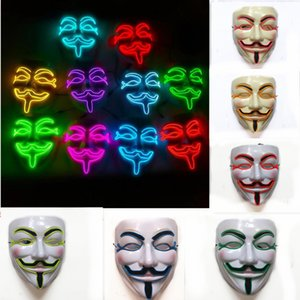 Carnival Party Mask Cosplay Halloween Party 10 colors V-shaped neon light V Vendetta Mascara Led Guy Fawkes Masquerade Mask Funny Mask