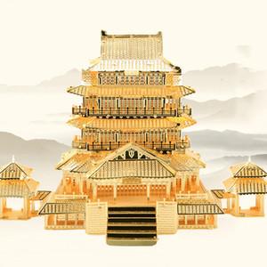 도매 3D 금속 퍼즐 장난감 DIY 고대 중국 건축 Tengwang 파빌리온 빌딩 키트 조립 하우스 모델 키즈 완구