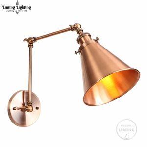 Golden Rose Longo Braço Wall Lamp Quarto Vintage Loft ajustáveis Luzes de parede industriais Sconce LED Edison Estilo Home Lighting