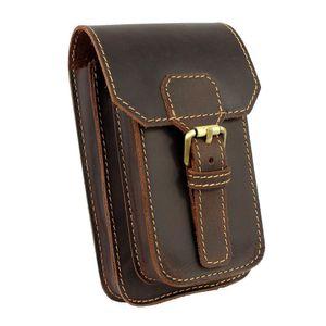 Moterm Saco de Cintura de Couro Genuíno Pequeno Gancho Fanny Pack Bolsa Bolsa para Homens Pacote de Cintura de Viagem Do Vintage Masculino Pequeno