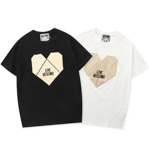 мужчины люксовый бренд дизайнер футболка DF Moschino Love металлическая панель в форме сердца аппликация patternT-рубашка оригинальный дизайн Письмо печати T-