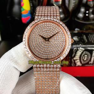 디럭스 보석 시계 G0A38021 G0A37043 Gypsophila 다이아몬드 스위스 석영 운동 남성 시계 로즈 골드 다이아몬드 레이디 아이스 아웃 전체 시계 다이얼