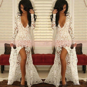 Sexy High Split Lace Mermaid Prom Dresses Deep V Neck Long Sleeves Evening Dress Floor Length Arabic Party Gowns