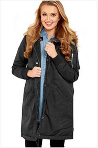 Fashion-дизайнер Женская плащи моды сплошной цвет искусственного меха воротник Зимняя куртка Повседневный Теплый женщин Верхняя одежда