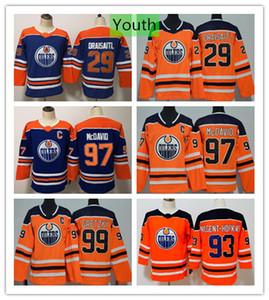 청소년 에드먼턴 오일러 Connor McDavid 29 Leon Draisaitl Wayne Gretzky 하키 저지 Ryan Nugent-Hopkins Blue Orange 키즈 보이즈 스티치 저지