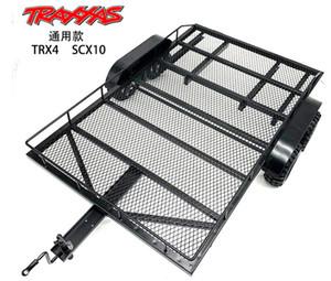 TRX4 KM2 SCX10 1 8 1 10 biaxial metal trailer large flat trailer for climbing vehicle