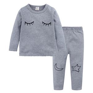 Bebê Manga Longa Pijamas algodão dos desenhos animados Crianças Pijamas Roupa Define roupa dos miúdos Suits bebê Meninas Pijamas