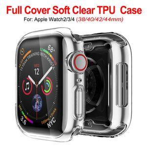Ultra Slim Transparente Clear Soft TPU Borracha Silicone Capa protetora de Silicone para Apple Watch Series 4 3 2 1 40mm 44mm 38mm 42mm