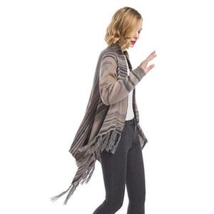 Casaco Cardigan camisola de manga longa Womens New Designer Knitting Casaco de Inverno listrado camisola Tassel com botão