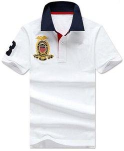 Men Polo casuale Big Horse ricamo solido Polo Homme estate del cotone di golf T-shirt Tennis Tees Abbigliamento uomo Jersey Abbigliamento Fitness Bianco