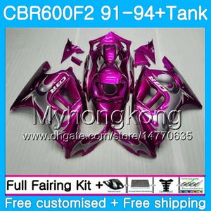 Fairing for Honda CBR 600F2 F2 FS 1993 92 94 288HM.11 CBR 600 91 CBR600FS CBR600 F2 Rose Flames Pink1991 1992 CBR600F2 1994 Body + Tan QKDW