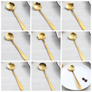 de café de acero inoxidable cucharas de oro color de la flor de cerezo rosa girasol cucharas cucharas de acero inoxidable creativa forma de la flor LXL953Q
