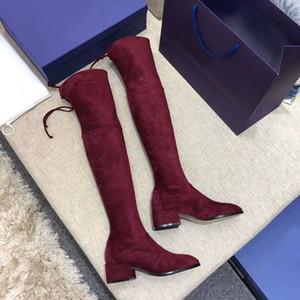2019 Frete Grátis mulheres de alta qualidade de costura de couro Martin veludo sapatos de atacado marca de luxo de moda botas de grife longo tubo de inicialização corda
