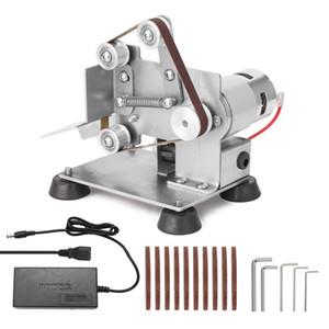Angle Grinder Belt Sander Mini Portable Electric Belt Sander DIY Polishing Grinding Machine Cutter Edges Sharpener with Foot Pad