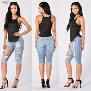 New Fashion High Waist Ripped Casual Skinny Jeans Woman Jeans Cotton Denim Trousers Slim Pants Cowboy