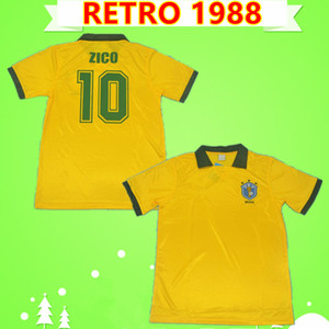 1988 1991 Brasilien brazil Brasil  Retro Fußballtrikots Brasilien Vintage ZICO Heimgelb 88 91 Müller Renato Gaúcho Raí Valdo Klassische brasilianische Fußballtrikots
