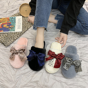 Women Home Slippers Winter Warm Shoes Slip on Flats Slides Female Faux Fur Bow-Knot Slippers Women Shoes Closed Toe