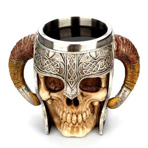 Tête de mort en acier inoxydable Viking Ram à cornes Pit Lord Warrior bière bière Stein Tankard tasse à café tasse à thé Halloween Bar Drinkware cadeau