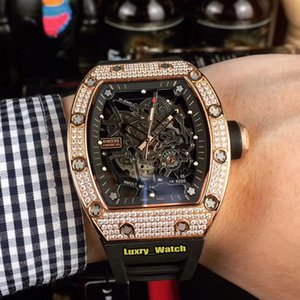 Best version RM035 AMERICA5 NADAL Rose Gold Diamond Case Skeleton Dial Japan NH Mechanical RM 035 Sapphire Mens Watch Rubber Sport Watches