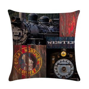 Retro Steam Train Designs Industrial Revolution Cotton Linen Car Seat Cushion Cover massage pillow Waist pillow cojines 493