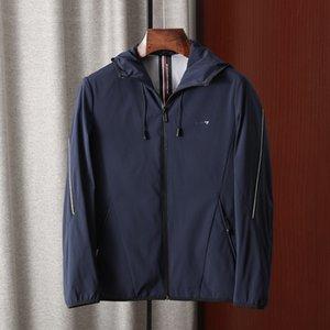 -Haijia-men's wear 2020 Coat zipper Jacket zipper handsome soft navy blue hooded zip casual jacket coat