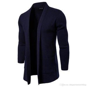 Mode Frühling Herbst Herren Open Stitch Solid Ständer Kragen Langarm Oberbekleidung Casual Coats Mode Strick mit Taschenmänner Jacken
