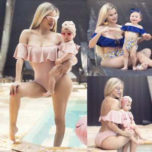 Pudcoco новый мама и я с плеча купальники семья соответствующие купальники рябить купальный костюм