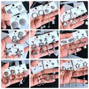 Neue Ohrringe 925 Silber Pin Hot Korean Dangle Shiny Strass Drop Farbe Temperament Zirkon lange exquisite Ohrringe Micro Ohrstecker Mix