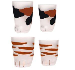 300ml 230ml Cat Claw Cups Milch-Glas-Mattglas-Cup nette Katze Fuß-Greifer-Druck-Becher Katzen-Tatzen-Kaffee Kinder Milch-Glas-Cup 10 Unzen Tumbler