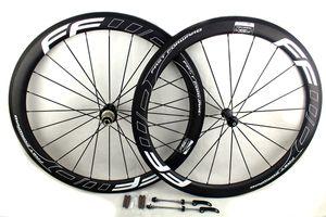 rodas de bicicleta de estrada carbono FFWD decalques branco 50 milímetros Powerway Hub R36 linear puxar basalto surfce freio gancho rodado tubular largura do aro 25 milímetros